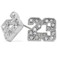 Platinum Iced Silver Finish Cz Michael Jordan Number #23 NBA Stud Earrings