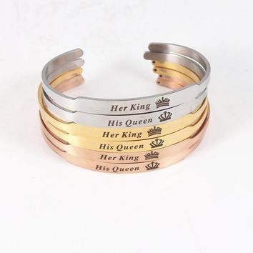 Cool Romantic Lover Couple Bracelets Stainless Steel Bangle Her King His Queen Customized Engraved Mantra Bracelet Women Men JewelryAT_93_12