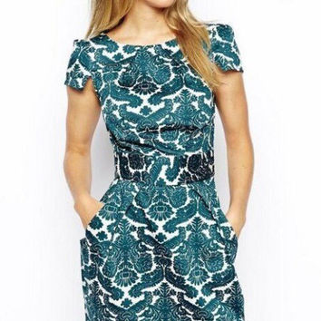 Royal Printed Short Sleeve Dress