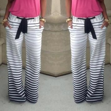 women Joggers Sport pants slim Striped Casual Trousers [7901442759]
