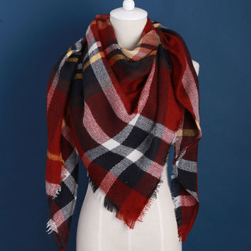 2016 luxury Brand Design Soft Cashmere Women's Scarf  Fashion Plaid Oversized Blanket Pashmina Shawl Warm in Winter Warp Scarves