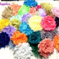 Grab bag shabby flower - wholesale flowers - shabby flower trim - shabby chic flower - chiffon trim - headband flower - frayed flower