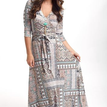 Taupe Moroccan Print Draped Maxi Dress