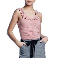 Corset Ruched Sleeveless Ruffle Ribbed Design Top