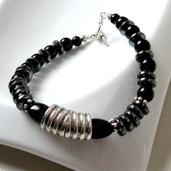 Unisex Black Hematite and Glass Bead Bracelet Art Deco Style; Everyday and Any Occasion Bracelet