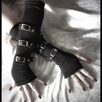Contorted Angel Arm Warmers  Gothic Unisex Buckled by ZenAndCoffee