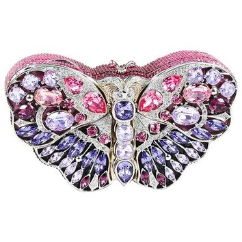 "Judith Leiber LIMITED EDITION Crystal Butterfly ""Celestrina"" Minaudiere Clutch"