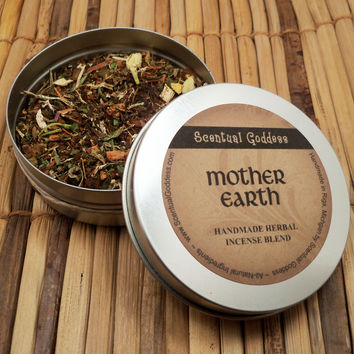 MOTHER EARTH INCENSE - Handmade Herbal Mixture of Herbs Oils Woods Resins - Burn For Earth Healing & Connection With Mother Nature