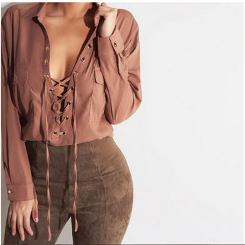 Lapel Collar Lace Up Closure Long Sleeve Blouse