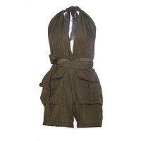 Halter Deep V Neck Bow Knot Pocket Short Ladies Cargo Romper Jumpsuit Backless Sexy Club Casual Summer Bodysuit Army Green