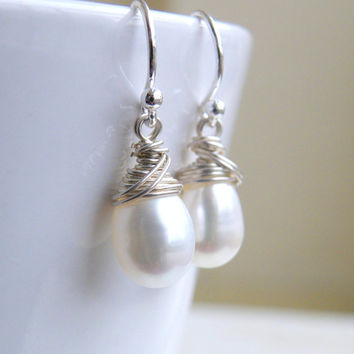 Teardrop Pearl Sterling Silver Wire Wrapped Dangle Earrings