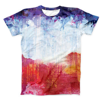 The Red White & Blue Paint Splotches ink-Fuzed Unisex All Over Full-Printed Fitted Tee Shirt