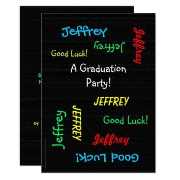 Graduation Party Invitation, Faux Black Burlap Card