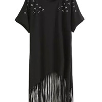 Black Hole Designed Tassels Dress