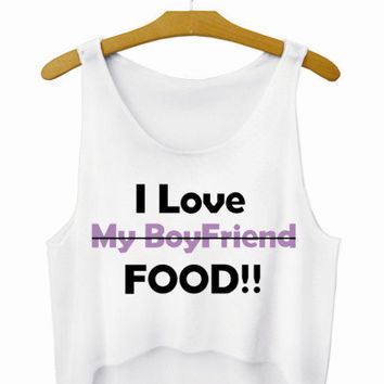 I Love Food Letters Crop Top Summer Style Tank Top Women's Top