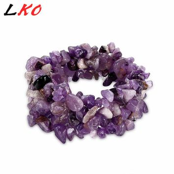LKO Stretch Chip beads Weave Natural Garnet Shell Crystal Coral Quartz Opal Fluorite stone Bracelet Women