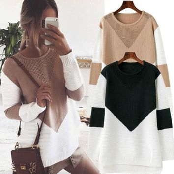 Fashion Womens Knitwear Long Sleeve Sweaters Autumn Winter Knit Patchwork Sweater Pullover Tops Clothes