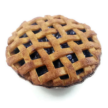 Polymer Clay Blueberry Pie Magnet - Realistic Pie Magnet - Cute Blueberry Pie Refrigerator Magnet - Food Magnet - Miniature Food