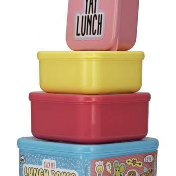 Stack Me! Lunch Boxes - Set of 4 Convenient Stacking Lunch Boxes