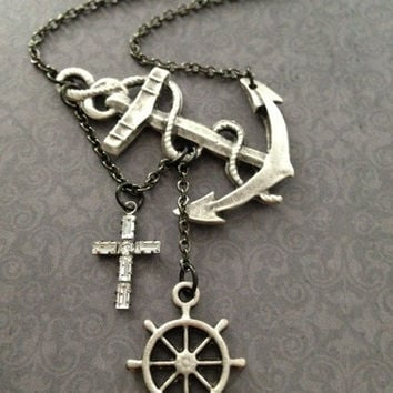 Lost at Sea Necklace by SBC Silver Plated Anchor and Ship Wheel Swarovski Crystal Cross Gunmetal Chain Made to Order