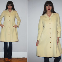 Vintage 50s LILLI ANN Blin + Blin Cream Wool Coat / Princess Coat / Winter Coat, Knee Length / Elegant, Pea Coat / Mod, Mad Men