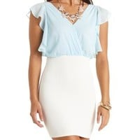Color Block Chiffon Blouson Dress by Charlotte Russe - Lt Blue Combo