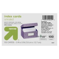 "up & up® - 100ct Un-Ruled Index Cards 3""X5"" - White"