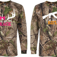 COUPLES Fluorescent Orange and Pink Camo long Sleeve shirts, I've Got the Rack & I've Got the Rifle FRONTS