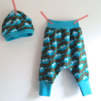 Owl Baby harem pants, Woodland baby boys outfit, baby boy jogging pant, 0-3 month, Owl baby beanie, baby hat, Farbenmix, Big butt pants