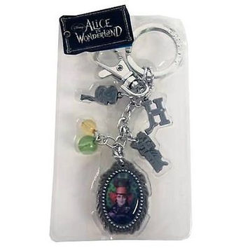 Tim Burton Alice in Wonderland Johnny Depp Mad Hatter Pewter Charms Key Chain