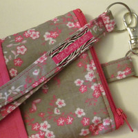 Hot Pink, Floral, Iphone Wallet, Zippered Wallet, Phone Wallet, Wallet, Pouch, with Pocket, Fully Lined, with Lobster Clip