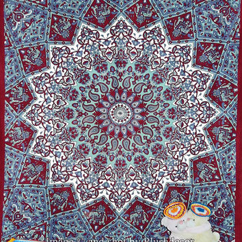 Twin Psychedelic Hippie Star tapestry Bohemian Elephant Mandala Tapestry Sun moon tapestry Modern Art Tapestry Hippy Boho throw Home Decor