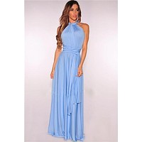 Sky Blue Multi way Convertible Wrap Maxi Dress Dresses