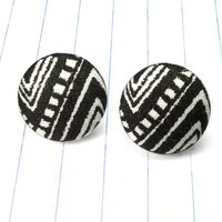 tribal earrings - tribal jewelry - tribal studs - tribal - black and white - black and white earrings - black and white jewelry - aztec