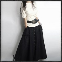 Graceful Black Big Sweep Long Maxi Woolen Skirt - NC216 | StylishLife - Clothing on ArtFire