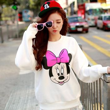 Print Minnie long sleeved white t shirt Superm korea casual thickening k-pop bts plus size women clothing funny tshirt T-shirt