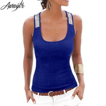 Womens Summer New Tank Sleeveless Square Neck Loose Bodycon Top