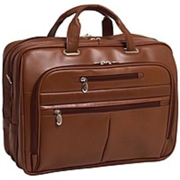 McKleinUSA 15.6 Leather Fly-Through™ Checkpoint-Friendly Laptop Briefcase - Shoulder Strap , Hand Strap - 17 Screen Support - Leather - Brown