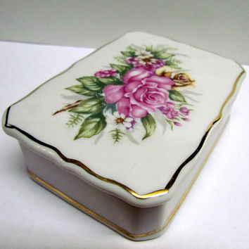 Vintage Porcelain Trinket Box / Keepsake Box / Jewelry Box with Floral design on lid, Made in Japan