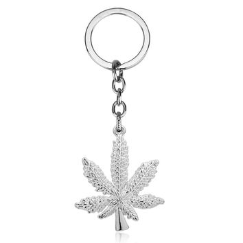New Iced Out Leaf Keychains Silver or Gold Color
