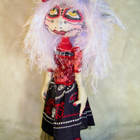 Cloth Doll, Sugar Skull, Day of the dead,  Pixie OOAK Art Doll Ellie