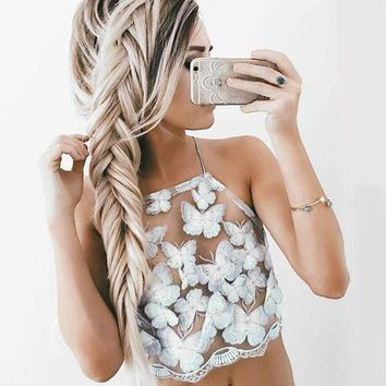DCCKN6V Summer Sexy White Mesh Lace Crochet Bralette Bustier Crop Top Women Casual Hollow Short Camis Tank Tops