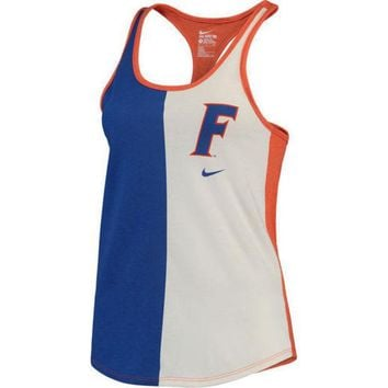 ESBON NCAA  Florida Gators Nike Women's Cream Tri-Divide Tri-Blend Racerback Tank Top