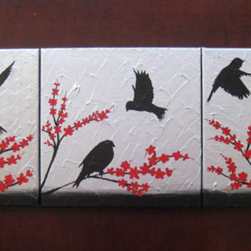 triptych birds art red gray grey black white silver 3 canvases three painting panels wall paintings
