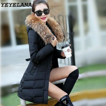 YEYELANA 2017 New Winter Women Outerwear jackter Parka Long Cotton Jacket Women Coat Winter Thick Coats Female Coats Plus Size