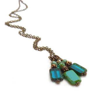Blue Layering Necklace - Picasso Glass Charm Necklace - Turquoise & Teal Blue - Bronze Chain - Siimple Necklace