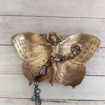 Brass Art Nouveau Tray/ Brass Butterfly Tray/ Butterfly Woman/ Vanity Tray/ Coffee Table Tray/ Brass Tray/ Jewelry Dish/ Trinket Dish