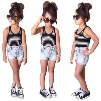 Girls 2pc summer outfit set Striped tank top + denim shorts