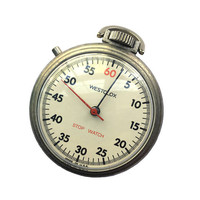 WORKING 60s Vintage Westclox Stopwatch | Silver Metal Stop Watch Pocket Tested 1960s Model No. 43361