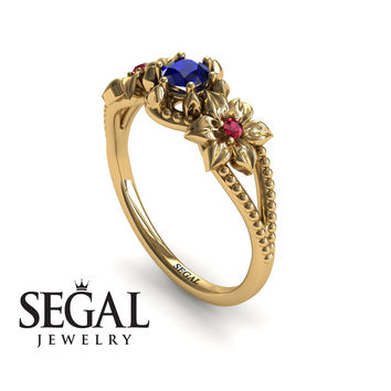 Unique Engagement Ring 14K Yellow Gold Flowers Art Deco Filigree Ring Sapphire With Ruby - Kennedy